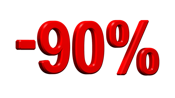 90 Percent Off Red Numbers 730 x 410
